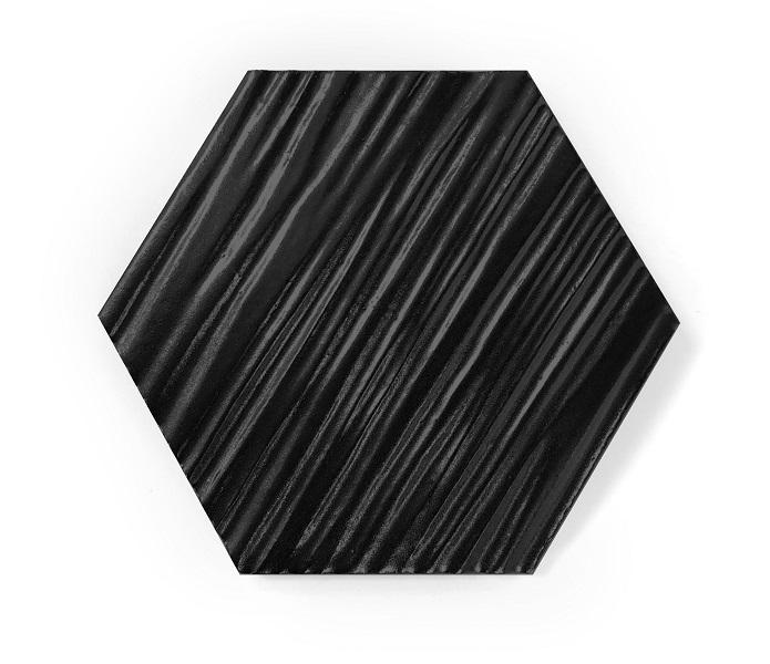hexagon black mat relief