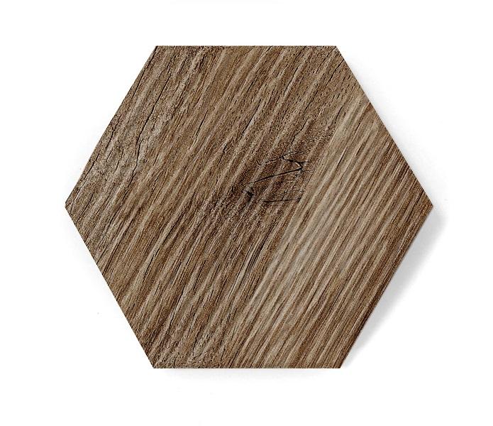 hexagon dark wood mat relief