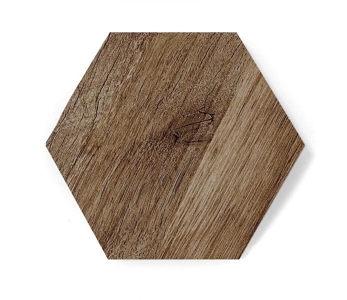 hexagon dark wood mat