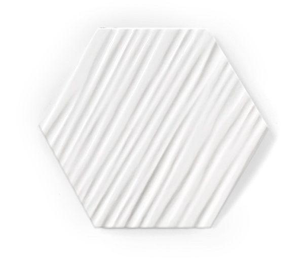 heksagon biały matowy relief