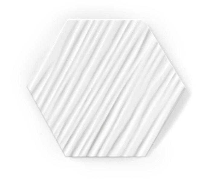hexagon white mat relief