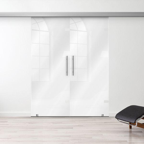 Drzwi Przesuwne Szklane Podwójne - Wzór PP-białe - Antaba