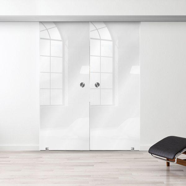 Drzwi Przesuwne Szklane Podwójne - Wzór PP-białe - Muszelka