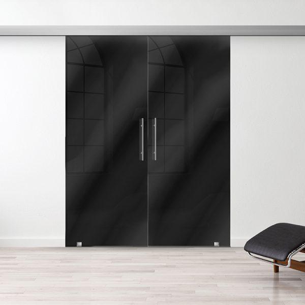 Drzwi Przesuwne Szklane Podwójne - Wzór PP-czarne - Antaba