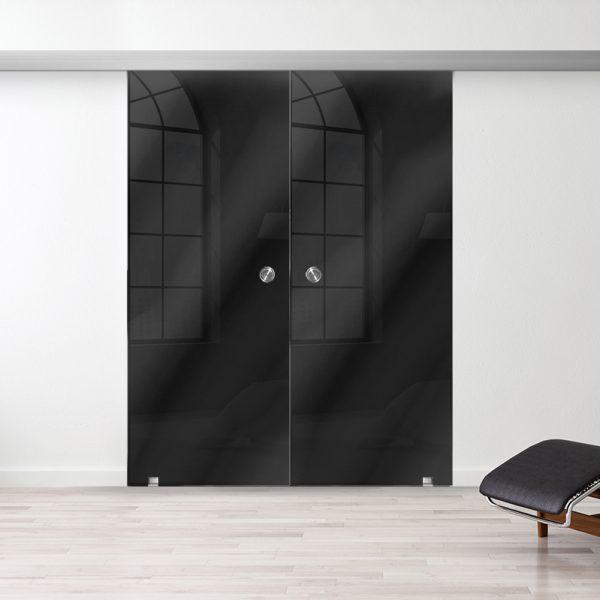 Drzwi Przesuwne Szklane Podwójne - Wzór PP-czarne - Muszelka