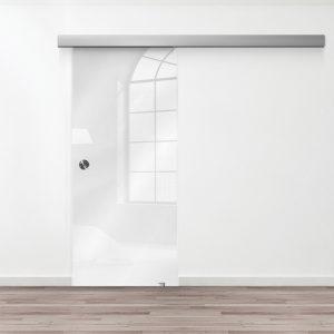 Drzwi Przesuwne Szklane - Wzór GS-biały - Muszelka