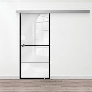 Drzwi Szklane Loftowe - Wzór loft-16 - Białe - Muszelka