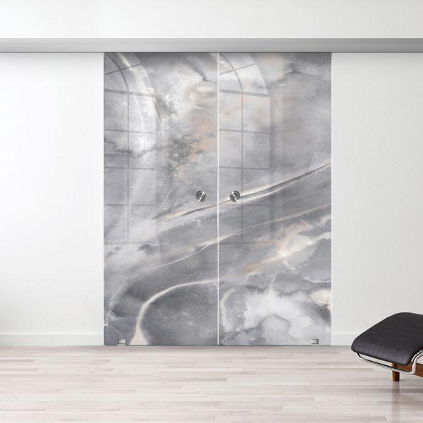 Drzwi Przesuwne Szklane Podwójne - Wzór Art Stone - Muszelka