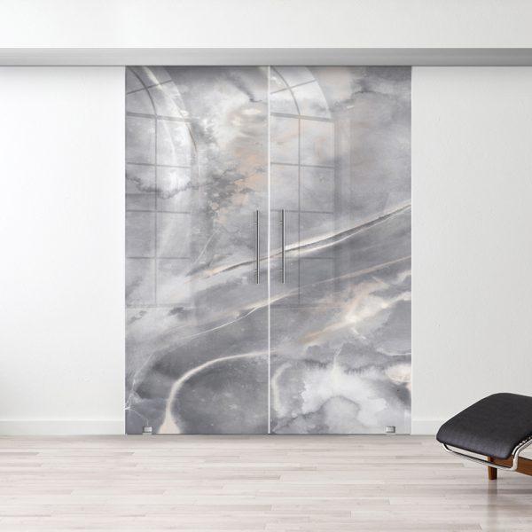 Drzwi Przesuwne Szklane Podwójne - Wzór Art Stone - Antaba