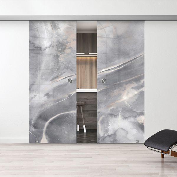 Drzwi Przesuwne Podwójne - Podgląd - Wzór Art Stone - Muszelka