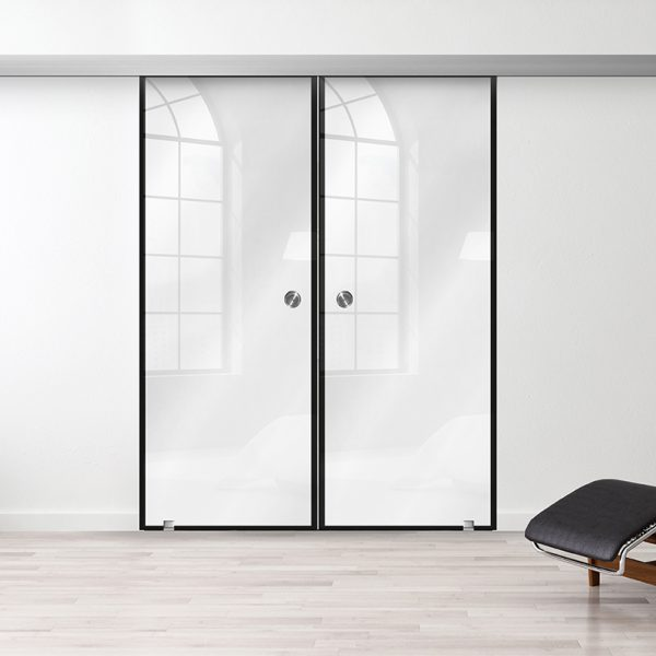 Drzwi Szklane Loftowe Podwójne - Wzór loft-00 - Białe - Muszelka