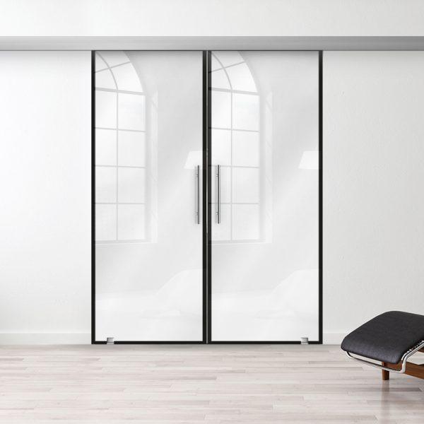 Drzwi Szklane Loftowe Podwójne - Wzór loft-00 - Białe - Antaba