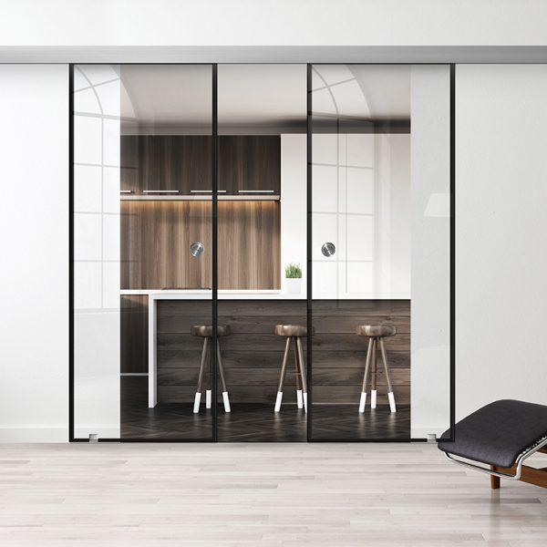 Drzwi Loftowe Podwójne - Podgląd - Wzór loft-00 - Przezroczyste